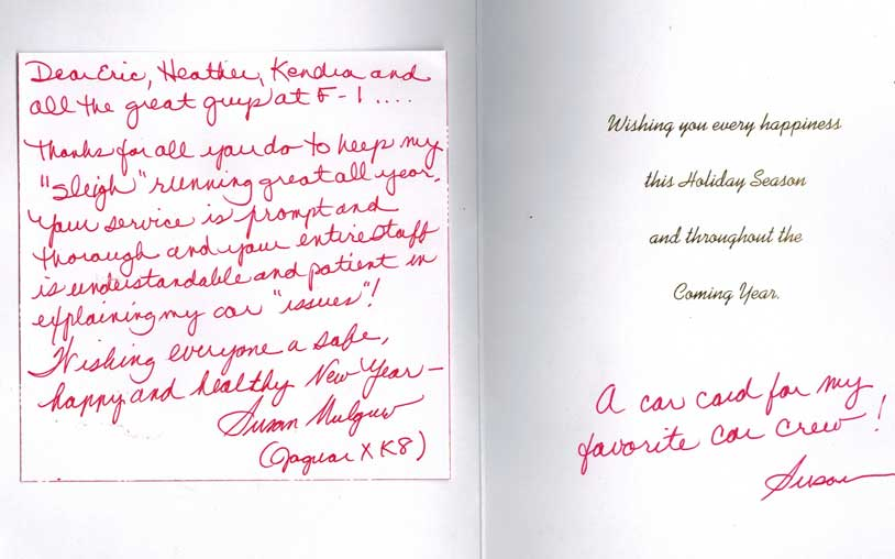 Satisfied client Aaron, Handwritten Thank you Card | F1 Imports & Exotics Naples Florida Luxury, Highline, and Exotic Car Service and Repair Center